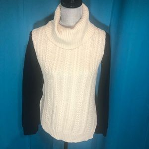 BCBG Maxazria black & cream cowl neck sweater🌺